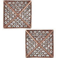 Vince Camuto Rose Gold Tone and Crystal Pyramid Stud Earrings