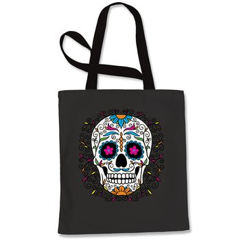 Frills Sugar Skull Shopping Tote Bag