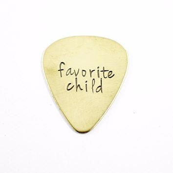 """""""favorite child"""" Hand stamped Guitar Pick - READY TO SHIP"""