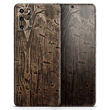 Rough Textured Dark Wooden Planks - Skin-Kit for the Samsung Galaxy S-Series S20, S20 Plus, S20 Ultra , S10 & others (All Galaxy Devices Available)
