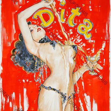 Retro Vintage Burlesque Poster Dita, re-print A3 Size (Get Any 3 For The Price of 2)