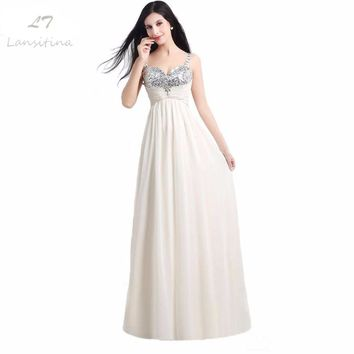 LANSITINA In Stock Sweetheart Beading Sequined Lace-up Back A-Line Floor-Length Chiffon Bridesmaid Dress Free Shipping 1089