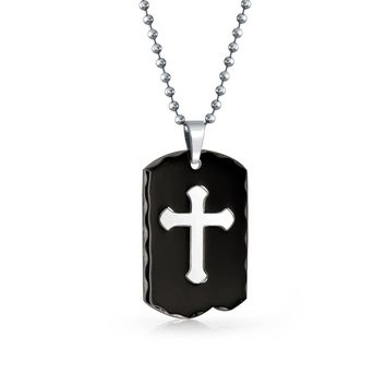 Engravable Two Tone Carved Edge Black Cross Dog Tag Pendant Necklace
