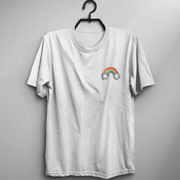 Rainbow shirt pocket tshirt womens graphic tees cute shirt for teen gift for daughter from mom printed t shirts