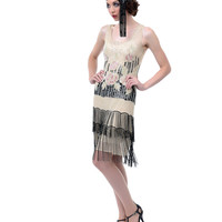 Unique Vintage Ivory & Rose Elegant 1920s Flapper Dress