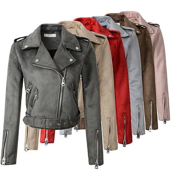 Side zipper womens jacket zip sleeve motorcycle faux leather vintage style coat