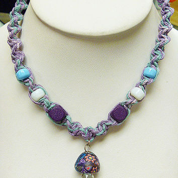 Pretty Purple  Hemp Necklace with Fimo Glass Mushroom    handmade macrame jewelry    hippie  girls