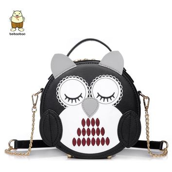 Beibaobao Brand 2017 Cute Owl Women Bags Fashion Animal Embroidery Shoulder Bag Girls Candy Color Messenger Bags Small Handbags