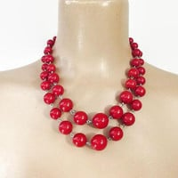 Vintage 50s Bead Necklace | 1950s Cherry Red Necklace | Choker Necklace | Big Statement Necklace | Mid Century Necklace | Vintage Jewelry