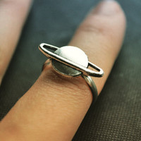 Planet Saturn Jupiter Astronomy space silver plated adjustable ring