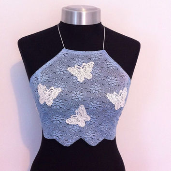 Blue lace butterfly appliqué halterneck crop top size uk 6/8