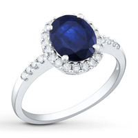 Natural Sapphire Ring 3/8 ct tw Diamonds 14K White Gold
