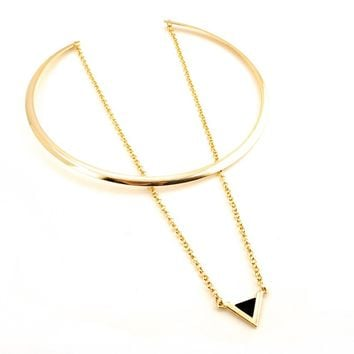 Gold Big Circle Choker Necklace Chain Enamel Triangle Pendant