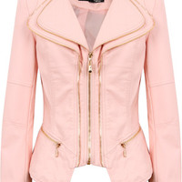 Pink Double Collar Detail Zip Up Jacket