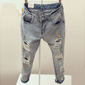Fashion Summer Style Women Ripped Jeans