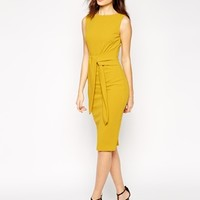ASOS Pencil Dress with Tie Front in Crepe at asos.com