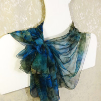 Hand painted silk scarf Long chiffon blue green scarf Handpainted summer scarf Gauze chiffon scarf shawl wrap Fashion Size 198x42 cm, 78x17""