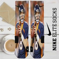 Peyton Manning Denver Broncos Baseball Custom Nike Elite Socks
