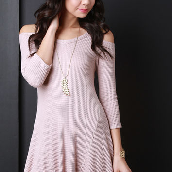 Thermal Cold Shoulder Quarter Sleeve Trapeze Dress