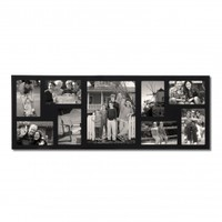 """Adeco Black Wood Wall Hanging Picture Photo Frame, 9 Openings, 4x6"""", 8x10"""""""