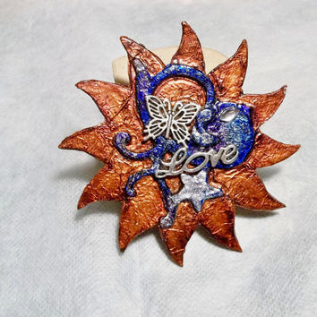 Art Brooch, Pin, Unique ,Bird, Bluebird of Happiness, Star, Butterfly, Metallic Copper, Blue, Silver