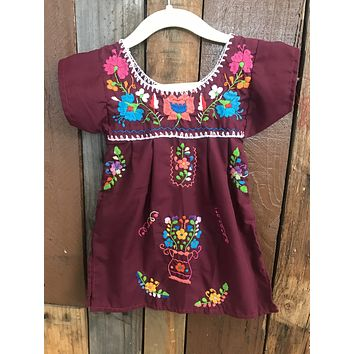Mexican Dress for Girls Burgundy