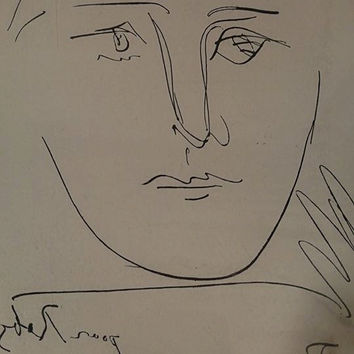 Vintage Print of Pour Roby by Picasso with certificate / Collectors Guild  Certificate / Picasso Etching Print P93 / F713