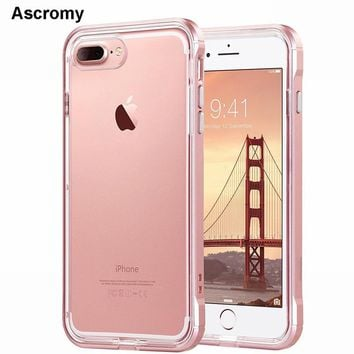 Ascromy For iPhone 8 Plus Case Frame Crystal Clear Rubber Hybrid Protective Case Cover for iPhone 7 X 6 S 6S 5 5S SE Accessories