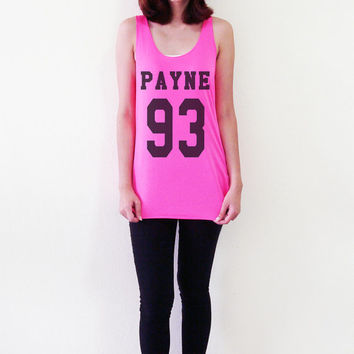 Liam Payne 93 Shirt Tank Top T-Shirts One Direction 1D Neon Pink Yellow Women T-Shirt