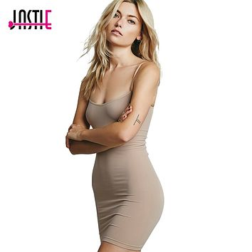 Jastie Stretch Mini Slip Dress Candy Colors Slim Knitted Women Dresses Sexy Adjustable Straps Boho Style Summer Vestidos Y-112