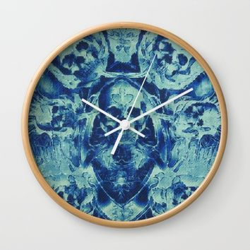 Blue Skulls (Abstract Surreal Blue Halloween Ghost Hour) Wall Clock by Jeanette Rietz