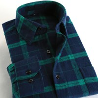 DressService Men's Plaid Flannel 100% Cotton Long Sleeves Business Casual Shirts