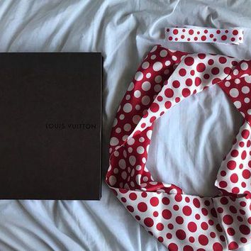 ONETOW Louis Vuitton Yayoi Kusama Red Polka Dot Silk Infinity Scarf Red