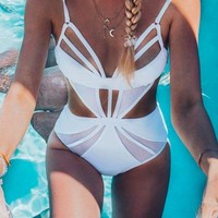 Mesh Cutout One-Piece Swimsuits