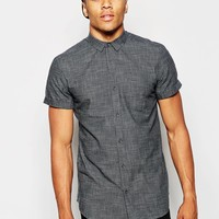 New Look Short Sleeve Shirt with Crosshatch Textured Detail
