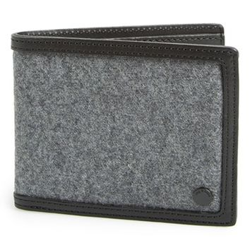 Men's rag & bone 'Hampshire' Wool & Leather Bilfold Wallet - Black