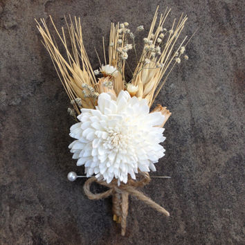 Handmade Wedding Boutonnieres - Sola China Flower Boutonnieres, Wheat Boutonnieres, Baby's Breath, Pods, Star Flowers, Twine, Rustic