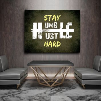 Stay Humble Hustle Hard Framed Canvas Wall Art Motivational Wall Art For Home Or Office