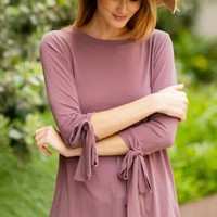 Bow sleeve top-Rose