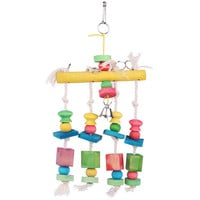 Colorful Moveable Parrot Bird Toys Swing Wood Cotton Chew Rope Funny Toys Pet Toys