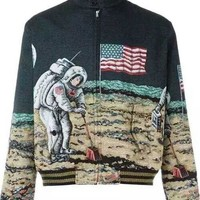 Indie Designs Saint laurent Inspired Multicolor Moon Discovery Bomber Jacket