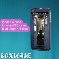Dr Who Tardis--iphone 4 case,iphone 5 case,ipod touch 4 case,ipod touch 5 case,in plastic,silicone and  black , white.