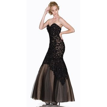 Strapless Appliqued Mermaid Prom Gown Lace Up Back Black/Nude