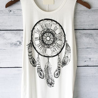 Dream Catcher Shirt - Muscle T Shirt in White