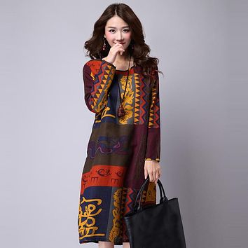 Spring Autumn Dress for Women Loose Ethnic Dress Print Casual Long Sleeve Cotton Linen Vintage Dress Vestidos robe hiver