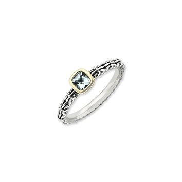 Stackable Sterling Silver & 14K Gold Plated Aquamarine Ring