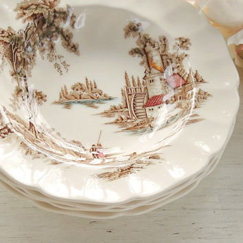 Johnson Brothers The Old Mill Rimmed Flat Soup Bowls Set of 4 Brown Multicolor English China, Bowls for Weddings, Romantic Farmhouse