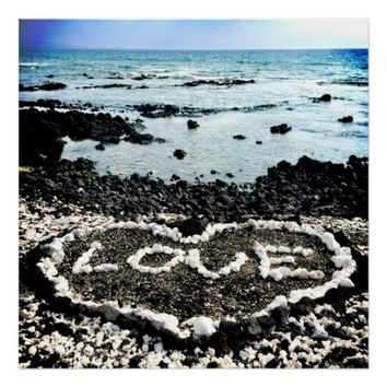 "Hawaii Black Sand Beach & Coral ""Love"" Heart Photo Poster"