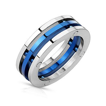 Blue Trinity - FINAL SALE Industrial Style Triple Bolted Blue Stainless Steel Combination Ring