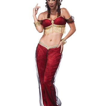 Red Arabic Dreamy Genie Costume (X-Small,Red)